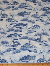 Lighthouse Sailboat Scenic Fabric Fat Quarter Nautical Timeless Treasure Sea Sky