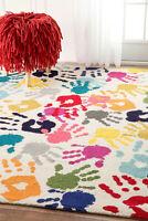Modern Area Rug Kids Bedroom Playroom Carpets Vivid Multi Colored Low Pile Mats