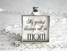 My Greatest Blessings Call Me Mom Pendant Charm Keychain Mother's Day Gift Idea