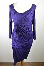 Stunning women's Karen Millen dark purple rouched pleat bodycon style dress 14