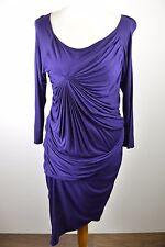 Stunning women's Karen Millen dark purple rouched pleat bodycon style dress 14