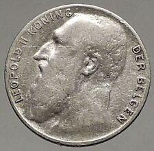 1901 BELGIUM - Original Antique Silver 50 Centimes Coin - King LEOPOLD II i56944