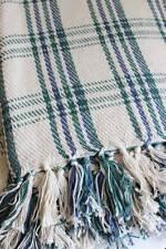 Throw Rug Blanket: Cotton Stripe Check Soft Cream Bed Sofa Cover Travel Picnic
