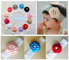 12pcs Flower Baby Toddler Girl Lace Bowknot Headband Hair Band Headwear