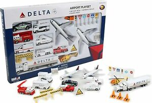 Daron Delta Die Cast Metal and Plastic 25 Piece Collectible Airport Play Set