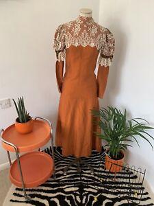 Vintage 1970s Maxi Victorian Style Dress By Quad Lace High Neck TLC