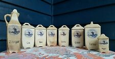 Antique Canister Set 16 Piece Porcelain German Delft Windmill Shabby Cottage