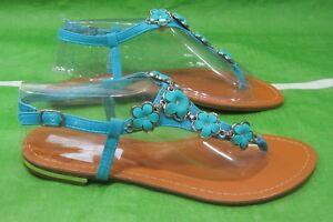 NEW LADIES Summer Blue Flower Roman Gladiator Sandals Shoes WOMEN Size 6