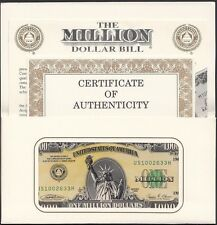 Authentic I.A.M. One 1 Million Dollars Banknote, 1988, Certificate, COA & Folder