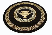 Meander Carpet round 200 cm Ø Black Kunst-Seide Medusa Carpet Rug Versac