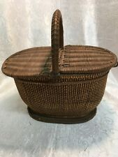 """Sewing Basket Antique Finely Woven Double Lids Oval Fine 19th Century 10 X 6"""" +"""