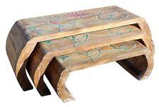 3er Set Opiumtisch Beistelltisch Blumentisch Brücke hell Lotos bunt Tisch 15