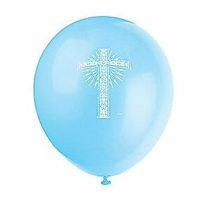 Religious Cross Printed Blue Balloon pack of 6 - Helium Quality Latex 30cm