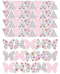 """40 x 1"""" BUNTING FLAGS 15 x BUTTERFLY CK FLORAL EDIBLE PRECUT ICING CAKE TOPPERS"""
