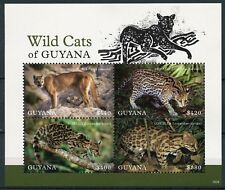 Guyana 2018 MNH Wild Cats Ocelot Puma Oncilla Margay 4v M/S II Animals Stamps