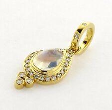 Temple St. Clair 18k Gold Diamond Moonstone Pear Drop Pendant $2750