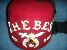 Rare Vintage Masonic Shriner ( #200 ) ( THEBES )  FEZ CAP & CASE NM COND.