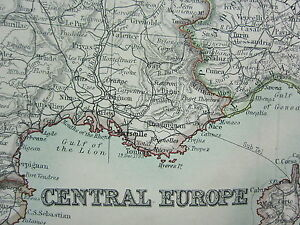 1910 MAP ~ CENTRAL EUROPE ~ FRANCE AUSTRIA HUNGARY GERMANY ITALY CORSICA