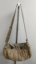 Guess tan satchel shoulder bag handbag with animal print and studs
