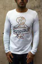 Refrigiwear Mens Long Sleeved Top White Casuals Top Stretch Muscle fit Slim XL