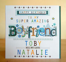 Boyfriend birthday card special personalised happy birthday greeting card boy