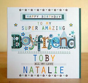 Boyfriend birthday card special personalised happy birthday greeting card boy