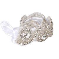 Weeding Handmade Crystal Rhinestone Beads Bridal Hair Band w/Ribbon