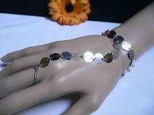 New Women Bracelet Fashion Silver Circles Hand Links Chain Slave Wrist To Ring