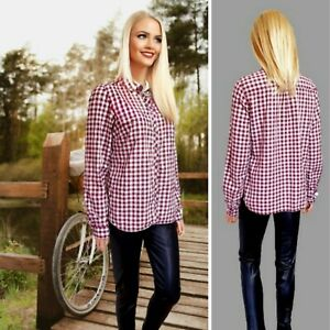 FAT FACE TOP SIZE 14 SHIRT LONG SLEEVE CHECK  MIX COLLARED BUTTON DOWN #23