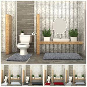 2 Piece Heavy Luxury Bath Mat & Pedestal Mat Sets Natty Bathroom Toilet Rugs
