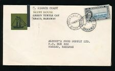 BAHAMAS 1959 GREEN TURTLE CAY + PEARCE COADY ENVELOPE SHIP ILLUSTRATED