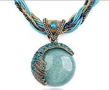 Retro Bronz Chain Rhinestone Bohemia Light Blue Color Necklace & Pendant Braided