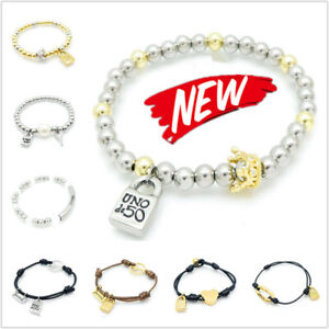 NEW Uno de 50 Padlock Logo Bracelets Men Women Pearl Beaded Unisex Cuff Jewelry