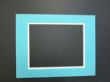 Picture Framing Mats 16x20 Mat for 11x14 photo Turquoise Blue with white liner