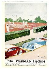AUTOMOBILE ITALIAN MAG AD ESSO MOTOR OIL 2-SIDED BERNAZOLLI TENNIS AND HUNTING