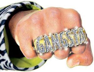 Gangsta Ring Costume Jewelry Accessory Retro Old School Gangster Rapper Pimp DJ