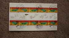 AUSTRALIAN FDC STAMP ISSUE FIRST DAY COVER, 1999 YEAR OF THE RABBIT GUTTER STRIP