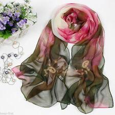 Beautiful Women's Green Lotus Flower Print Long Chiffon Scarf Wrap Shawl Stole
