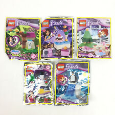 5 Lego Friends Lot Figurine Pingouin + Chat + Bonhomme De Neige + Sapin Neuf