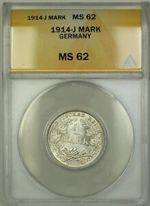 1914-J Germany 1M Mark Silver Coin ANACS MS-62