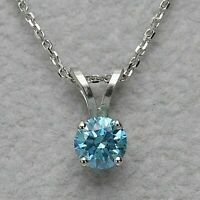 2.00 Carat Blue Diamond Solitaire Pendant 14K White Gold Over Necklace 18""