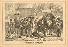 Street Market, Vendors, Goose, Turkey, German, Vintage, 1880 Antique Art Print,