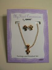 "Ganz MY FIRST COMMUNION Earring & 16"" Necklace Set Gold with Crystal NEW Fashion"