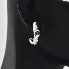 Beautiful Modern 14K White Gold Genuine Diamond & Sapphire Post Back Earrings