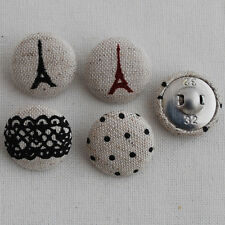 4 Handmade Fabric Covered Buttons Paris Eiffel Tower Lace Black Polka Dots - 2cm