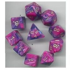 NEW RPG Dice 10pc - Toxic Blue-Pink - 1 @ D4 D8 D10 D12 D20 D00-10 & 4 D6