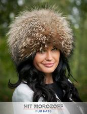 RACCOON FUR Russian Winter Hat Chapka Pelzmütze Fellmütze Waschbär Mütze Schapka