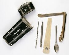 Rare Antique Georgian Era Shagreen Necessaire, Etui with 5pc Original Tools