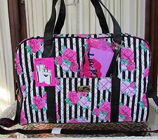 Luv Betsey Johnson Floral Pink Roses Weekender XL Travel Duffel Bag Stripes NWT