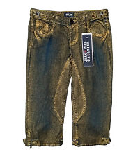 JEAN's PAUL GAULTIER Blue Capri Cotton Jeans with Gold Wash sz 30